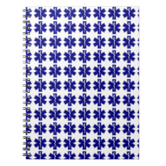 Star Of Life (logo only, tiled) Spiral Note Books