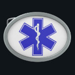 "Star of Life Oval Belt Buckle<br><div class=""desc"">The Star of Life is a symbol that represents the six main tasks executed by EMS personnel: Early Detection, Early Reporting, Early Response, On Scene Care, Care in Transit, and Transfer to Definitive Care. The Rode of Asclepius, is an ancient symbol associated with the Greek god Asclepius (a practitioner of...</div>"