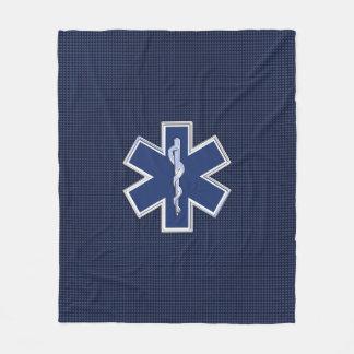 Star of Life Paramedic Carbon Fiber Style Fleece Blanket