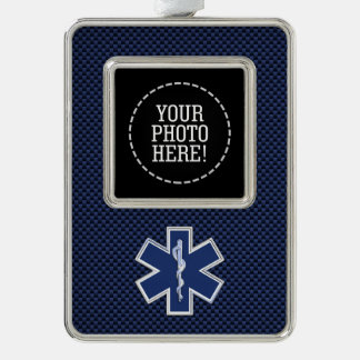 Star of Life Paramedic Carbon Fiber Style Silver Plated Framed Ornament