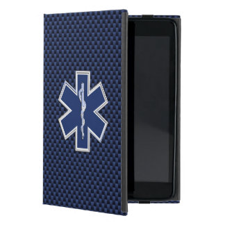 Star of Life Paramedic Emergency Blue Carbon Style Case For iPad Mini
