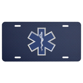 Star of Life Paramedic Emergency Medical S Decor License Plate