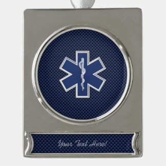 Star of Life Paramedic Emergency Medical S Decor Silver Plated Banner Ornament