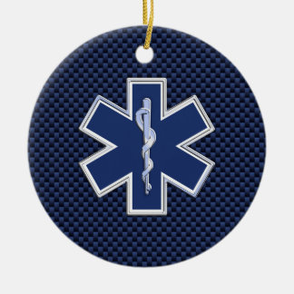 Star of Life Paramedic Emergency Medical Services Double-Sided Ceramic Round Christmas Ornament