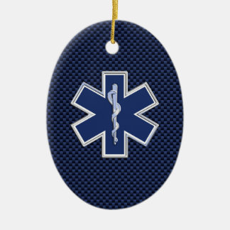 Star of Life Paramedic Emergency Medical Services Double-Sided Oval Ceramic Christmas Ornament