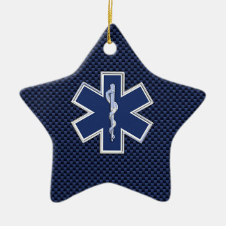 Star of Life Paramedic Emergency Medical Services Double-Sided Star Ceramic Christmas Ornament