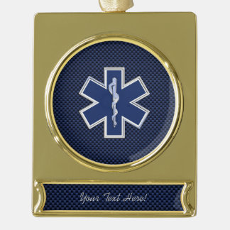 Star of Life Paramedic Emergency Medical Services Gold Plated Banner Ornament