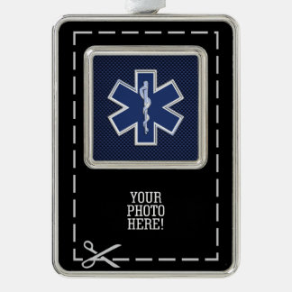 Star of Life Paramedic Emergency Medical Services Silver Plated Framed Ornament