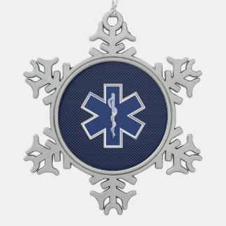 Star of Life Paramedic Emergency Medical Services Snowflake Pewter Christmas Ornament