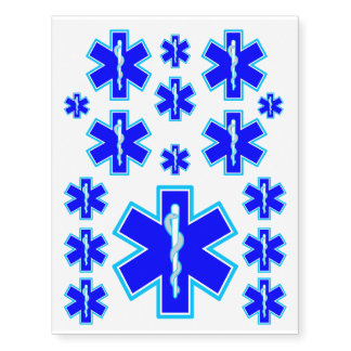 Star of Life Paramedic Emergency Medical Services Temporary Tattoos