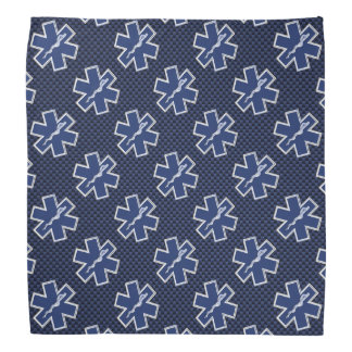 Star of Life Paramedic EMS on Blue Carbon Fiber Bandana