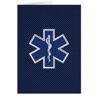 Star of Life Paramedic EMS on Blue Carbon Fiber Card