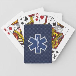 Star of Life Paramedic EMS on Blue Carbon Fiber Card Deck