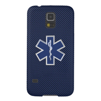 Star of Life Paramedic EMS on Blue Carbon Fiber Case For Galaxy S5