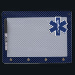 """Star of Life Paramedic EMS on Blue Carbon Fiber Dry Erase Board With Keychain Holder<br><div class=""""desc"""">The Symbolic Caduceus Star of Life Paramedic design presented here on a navy blue carbon fiber like printed background. The star of life paramedic symbol is designed to look like it&#39;s made of silver chrome. Good for a graduation occasion, a statement for your profession, or for a gift with that...</div>"""