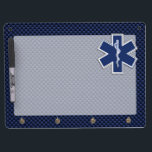 "Star of Life Paramedic EMS on Blue Carbon Fiber Dry Erase Board With Keychain Holder<br><div class=""desc"">The Symbolic Caduceus Star of Life Paramedic design presented here on a navy blue carbon fiber like printed background. The star of life paramedic symbol is designed to look like it&#39;s made of silver chrome. Good for a graduation occasion, a statement for your profession, or for a gift with that...</div>"