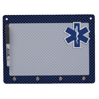 Star of Life Paramedic EMS on Blue Carbon Fiber Dry Erase Board With Keychain Holder