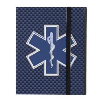 Star of Life Paramedic EMS on Blue Carbon Fiber iPad Case