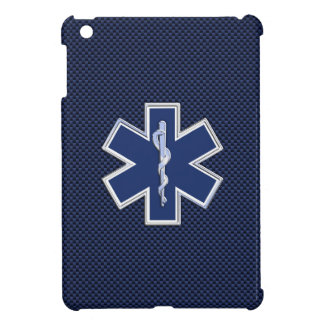 Star of Life Paramedic EMS on Blue Carbon Fiber iPad Mini Cases