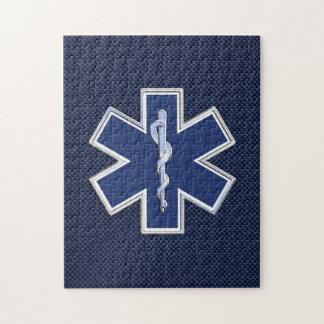 Star of Life Paramedic EMS on Blue Carbon Fiber Jigsaw Puzzle