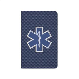 Star of Life Paramedic EMS on Blue Carbon Fiber Journal