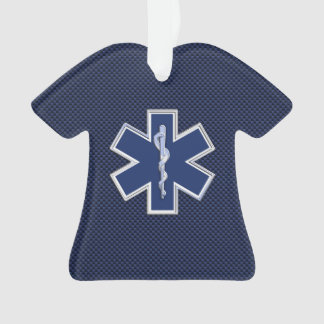 Star of Life Paramedic EMS on Blue Carbon Fiber Ornament