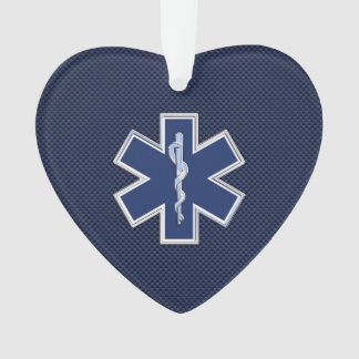 Star of Life Paramedic EMS on Blue Carbon Fiber Ornament
