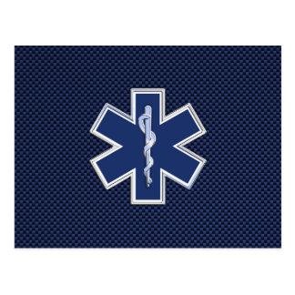 Star of Life Paramedic EMS on Blue Carbon Fiber Postcard