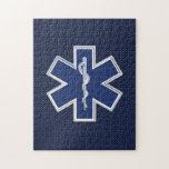 Star of Life Paramedic EMS on Blue Carbon Fiber Puzzle
