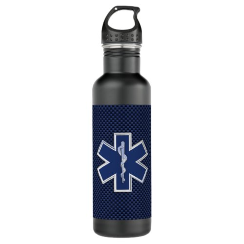Star of Life Paramedic EMS on Blue Carbon Fiber Stainless Steel Water Bottle