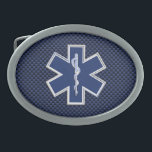 """Star of Life Paramedic on Navy Blue Carbon Fiber Belt Buckle<br><div class=""""desc"""">The Symbolic Caduceus Star of Life Paramedic design presented here on a blue carbon fiber like printed background. The star of life paramedic symbol is designed to look like it&#39;s made of silver chrome. Good for a graduation occasion, a statement for your profession, or for a gift with that medical...</div>"""