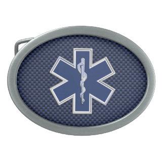 Star of Life Paramedic on Navy Blue Carbon Fiber Belt Buckle