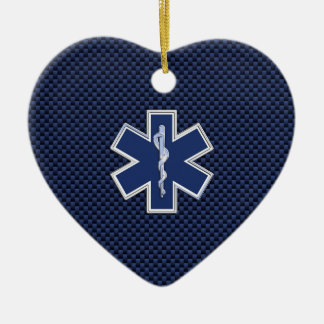 Star of Life Paramedic on Navy Blue Carbon Fiber Ceramic Ornament