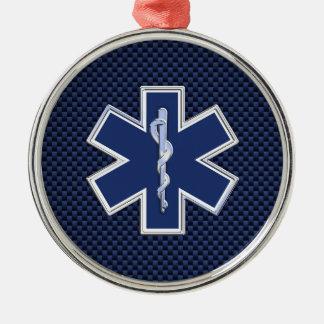 Star of Life Paramedic on Navy Blue Carbon Fiber Metal Ornament