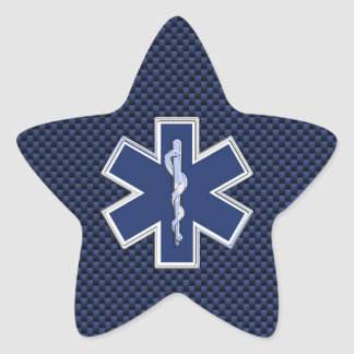 Star of Life Paramedic on Navy Blue Carbon Fiber Star Sticker
