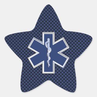 Star of Life Paramedic on Navy Blue Carbon Fiber Star Sticker