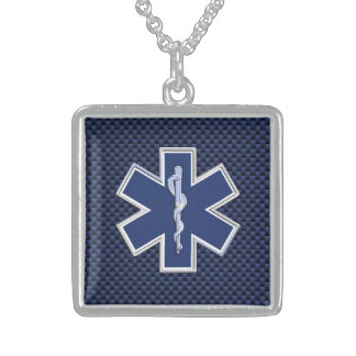 Star of Life Paramedic on Navy Blue Carbon Fiber Sterling Silver Necklace