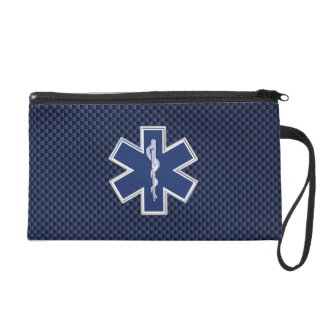 Star of Life Paramedic on Navy Blue Carbon Fiber Wristlet Purse
