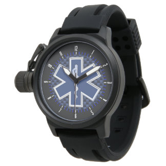 Star of Life Paramedic on Navy Carbon Fiber Look Wristwatch