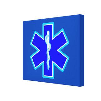 Star of Life Paramedic Symbol EMS Blue Canvas Print