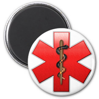 Star of Life Red 2 Inch Round Magnet