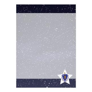"Star of Massachusetts Flag 5"" X 7"" Invitation Card"