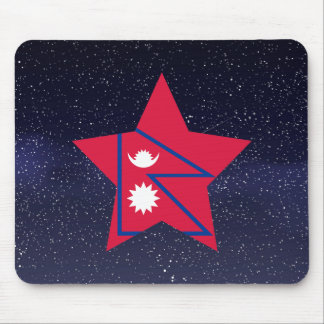 Star of Nepal Flag Mouse Pad
