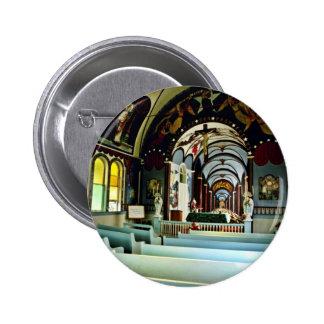 "Star Of The Sea """"Painted"""" Church - Kalapana, Haw Pinback Button"