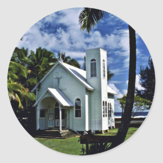 "Star Of The Sea """"Painted"""" Church - Kalapana, Haw Round Stickers"
