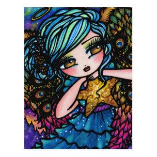 Star of Wonder Peacock Angel Christmas Fantasy Postcard