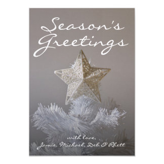 Star on artificial Christmas tree Card