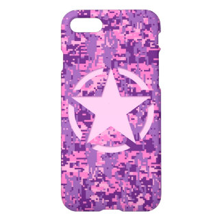 Star on Girly Hot Pink Camo iPhone 8/7 Case