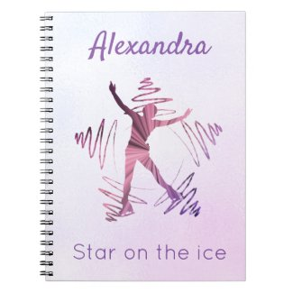 Star on ice figure skating notebook purple pink