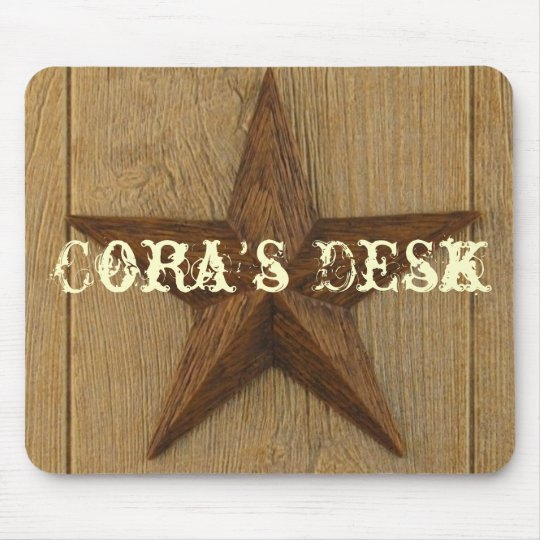 star on wood, Cora's Desk Mouse Pad